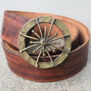 Vintage Artisan Brown Leather Belt